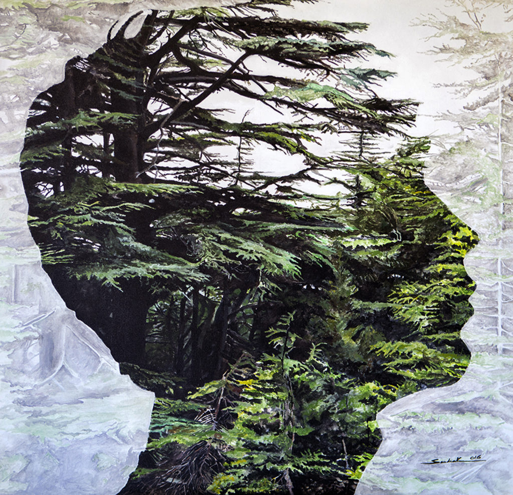 The Cedar In His Mind  |   Acrylic  |  100x100 cm