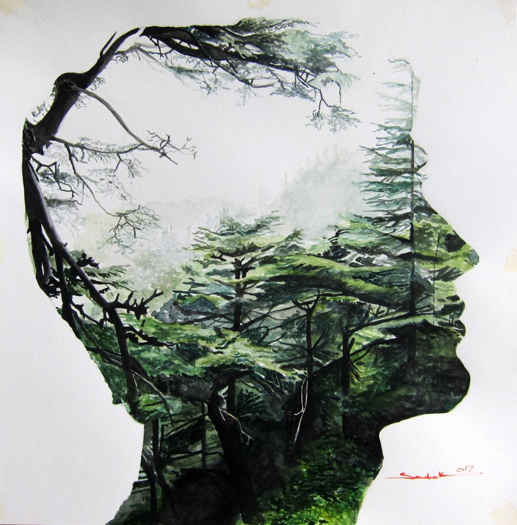 The Cedar In His Mind   |  Watercolor  |  50x50cm