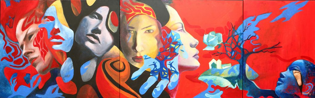 Canvas 1 Hand reading story triptic 260x80 acrylic on canvas 2008