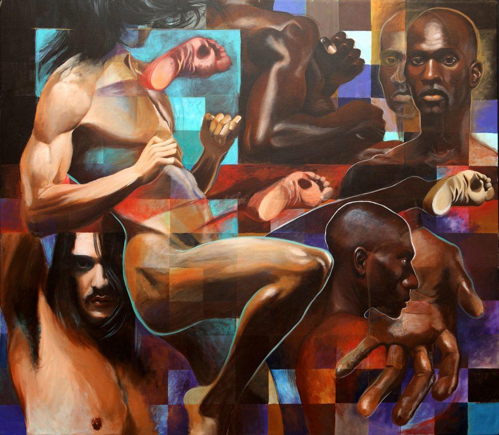 Duel 130x150 acrylic on canvas2008