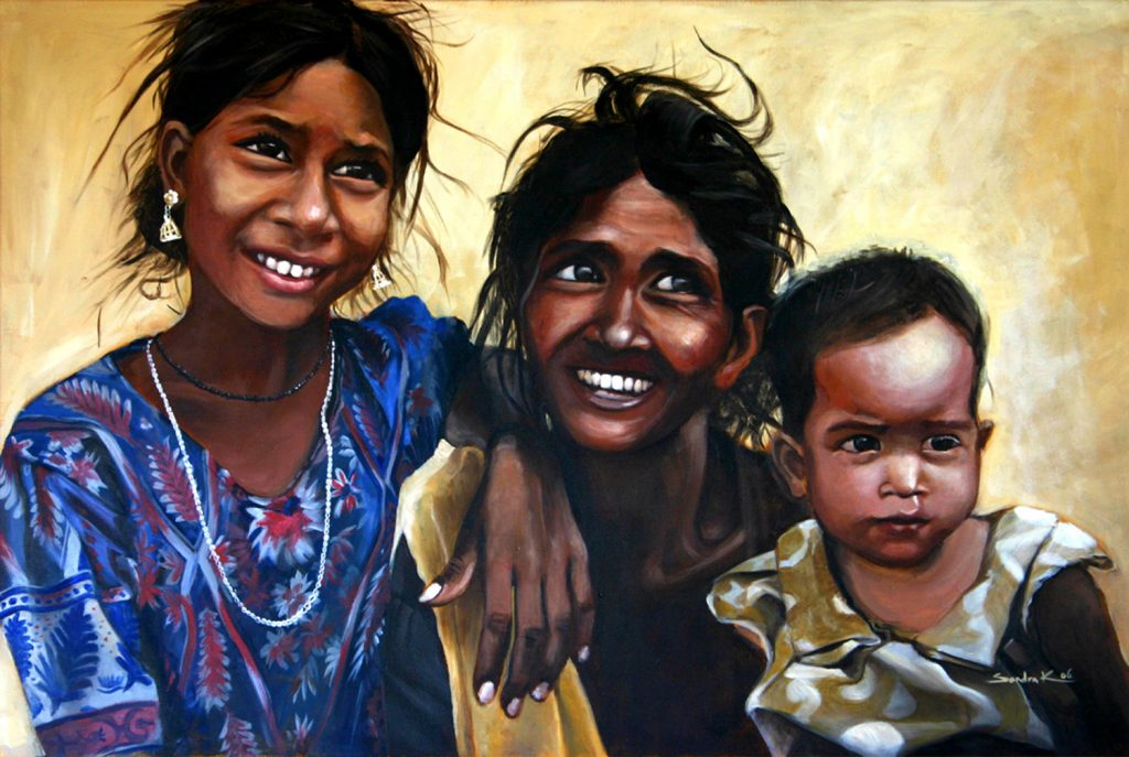 Mother with her daughters 80x120cm acylic on canvas 2006