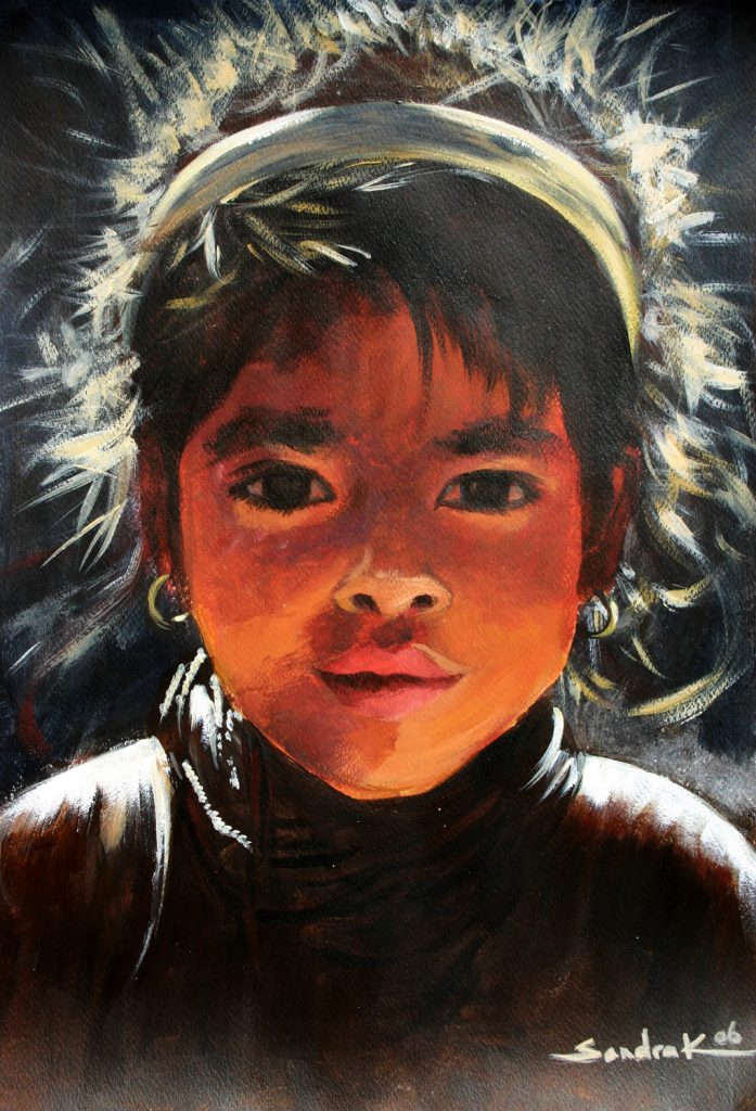 Nepalese girl 42x30 acrylic on paper 2006