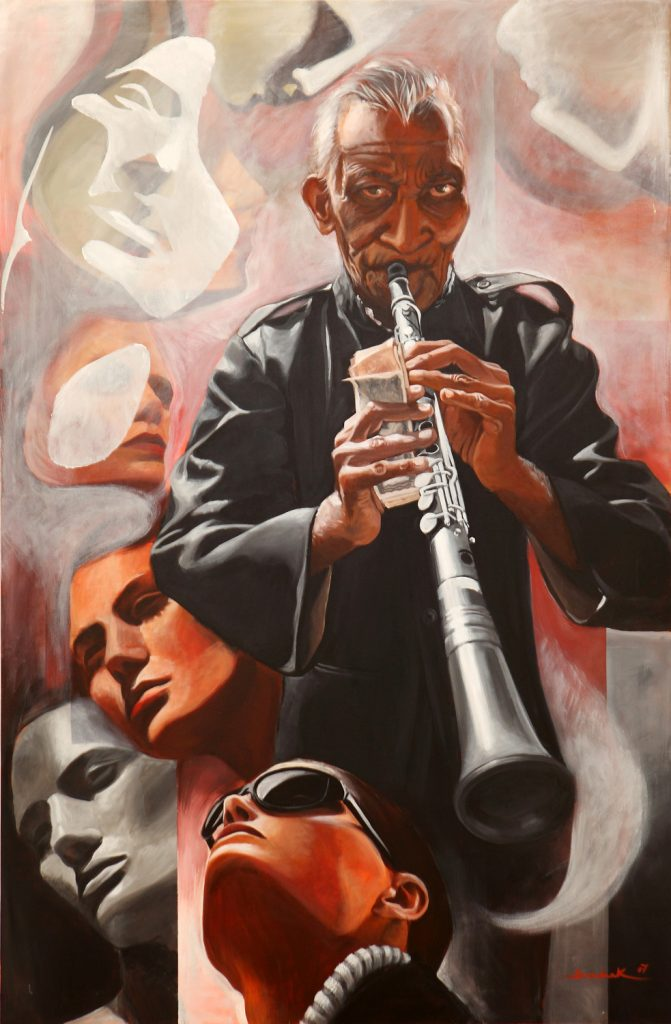 Old musician 95x145 acrylic on canvas 2007